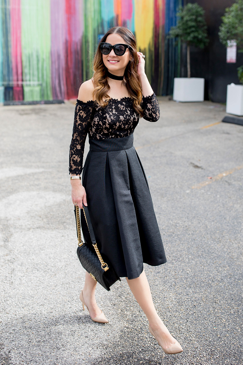 Black Lace Strapless Flare Dress