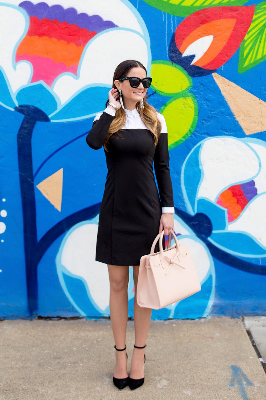 Black White Long Sleeve Dress