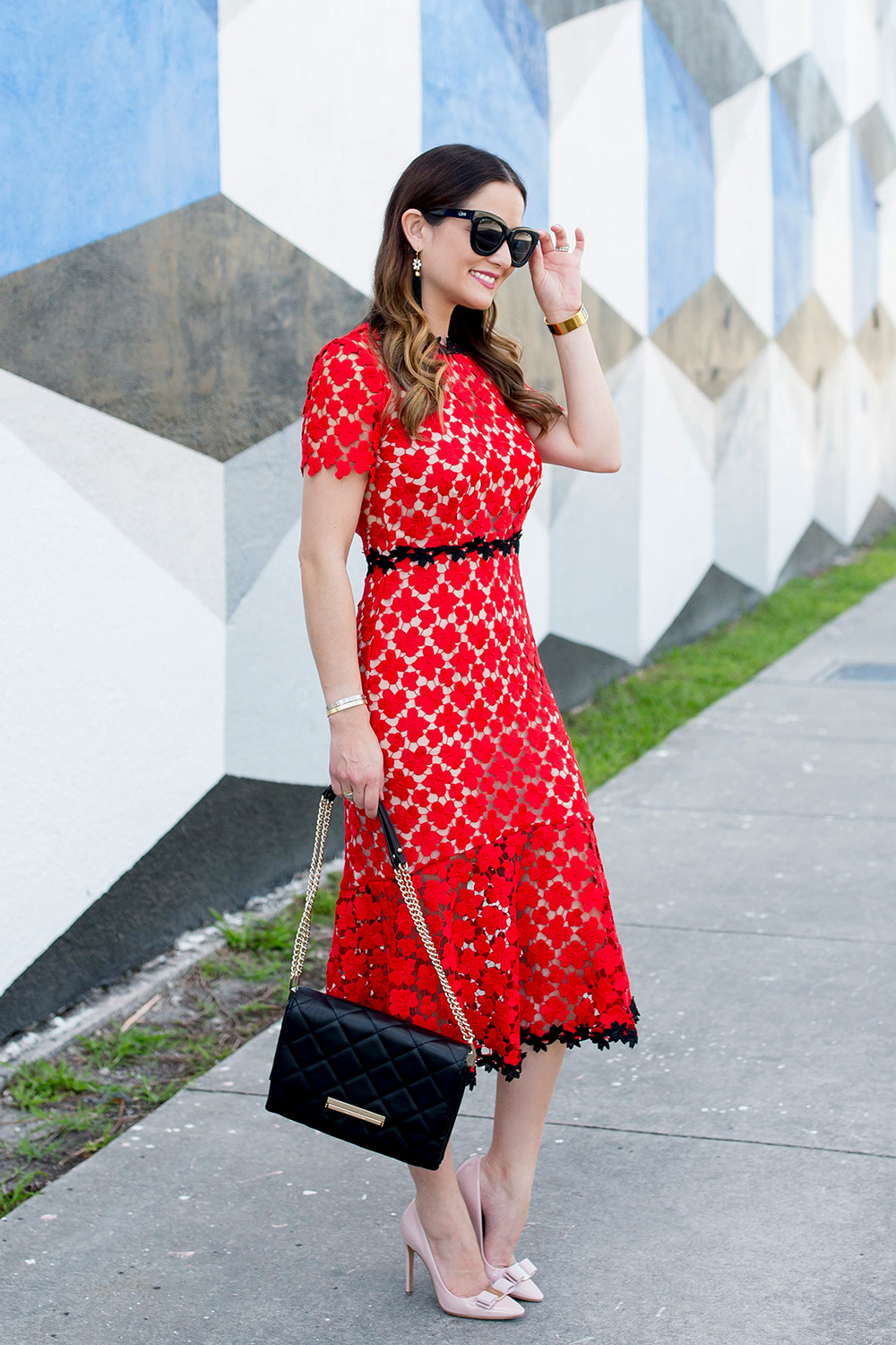 Red Floral Lace Midi Dress