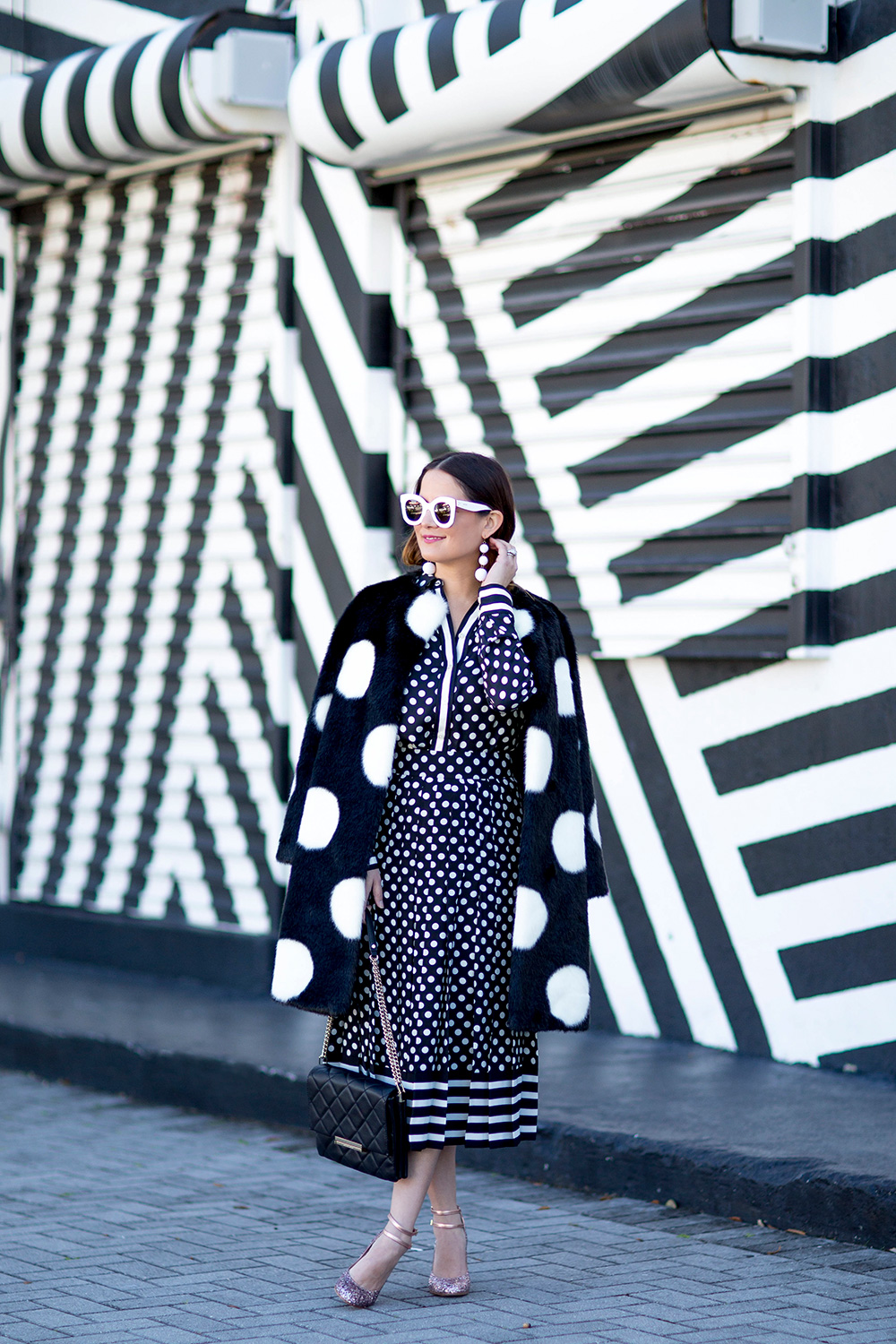 Black White Polka Dot Coat