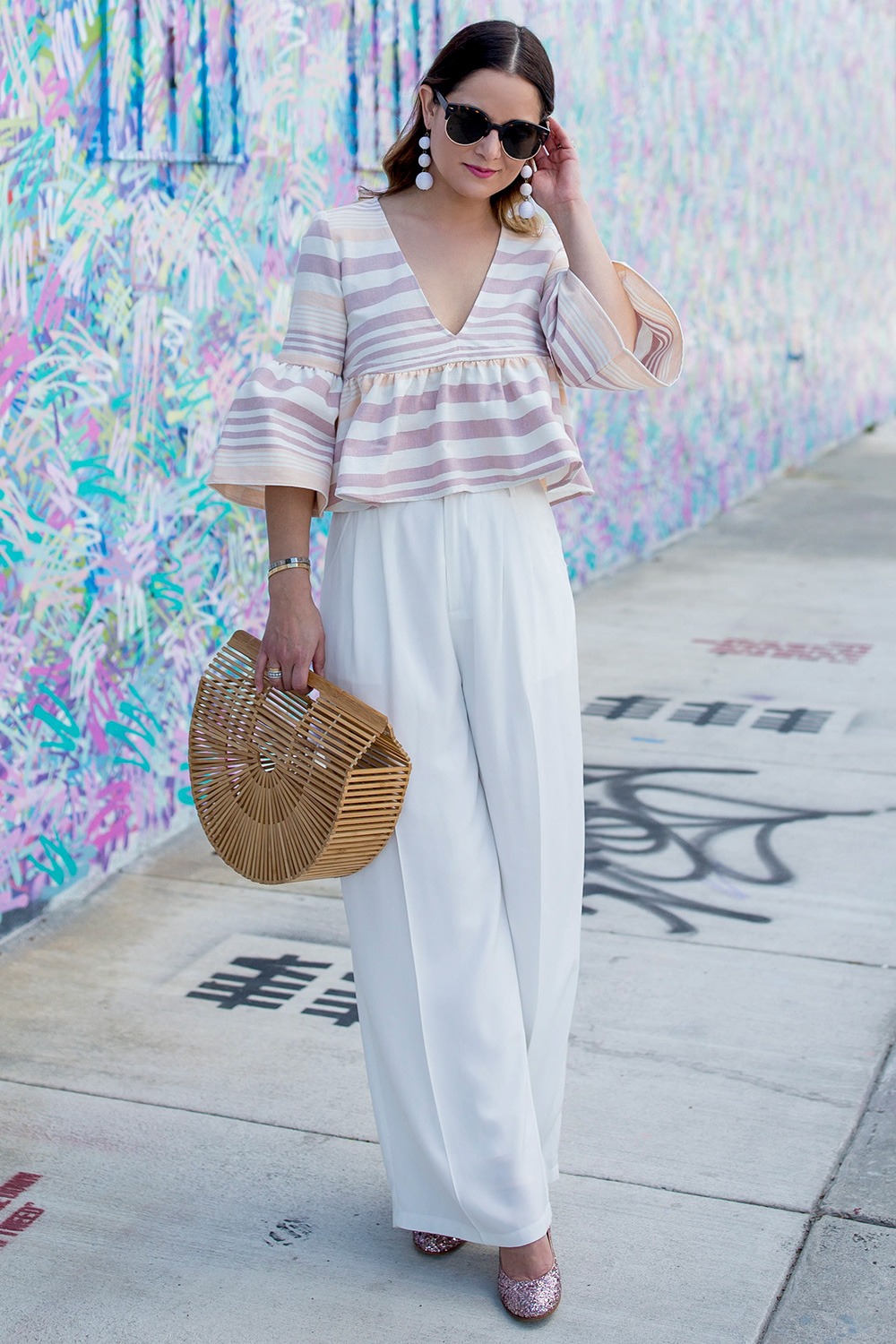 White High Waisted Wide Leg Pants