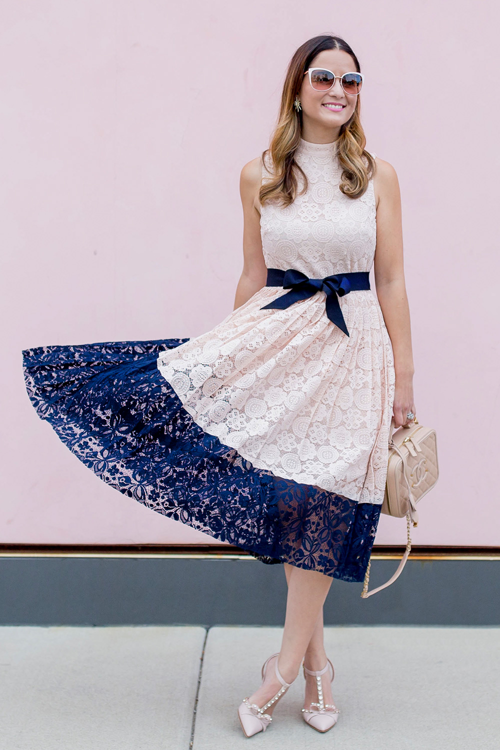 Pink Navy Lace Dress