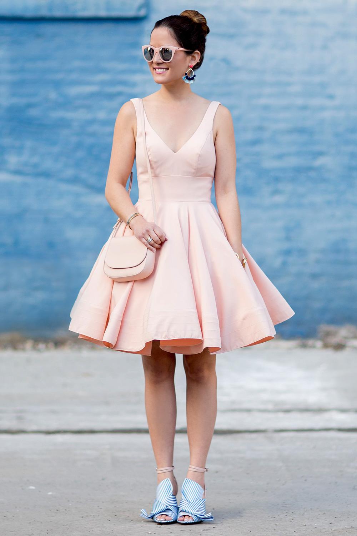 Pink V Neck Fit Flare Dress
