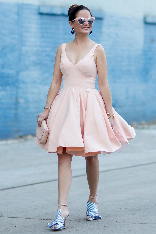Pink V Neck Flare Dress