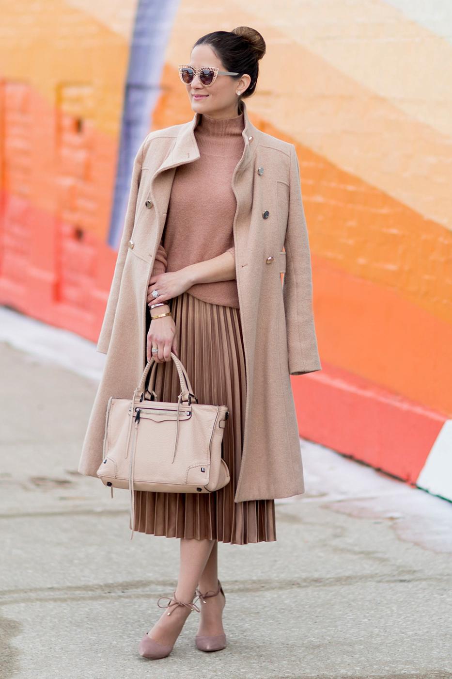 Tan Pleated Midi Skirt