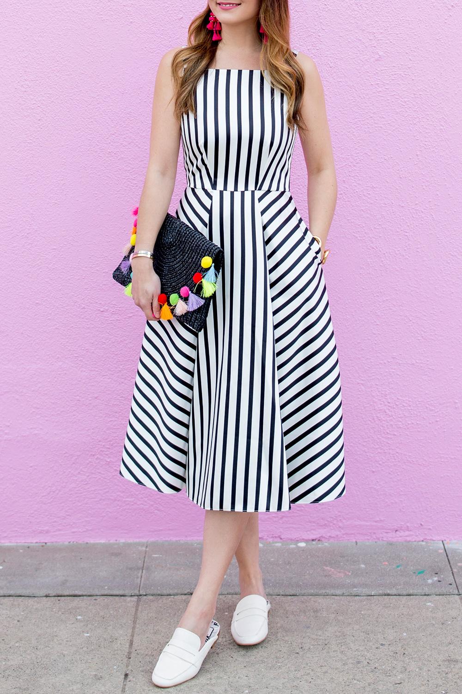 Black White Stripe Flare Dress