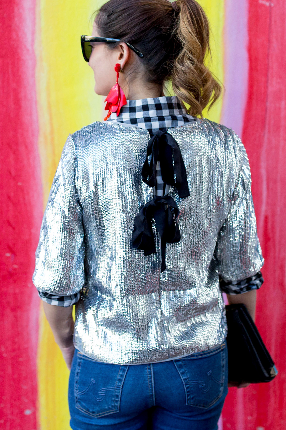 Silver Sequin Bow Back Top