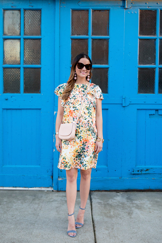 Floral Flutter Sleeve Dress
