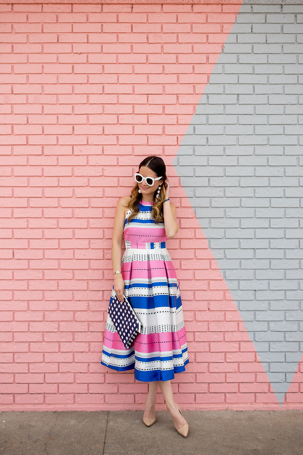 Multicolor Stripe Fit and Flare Dress