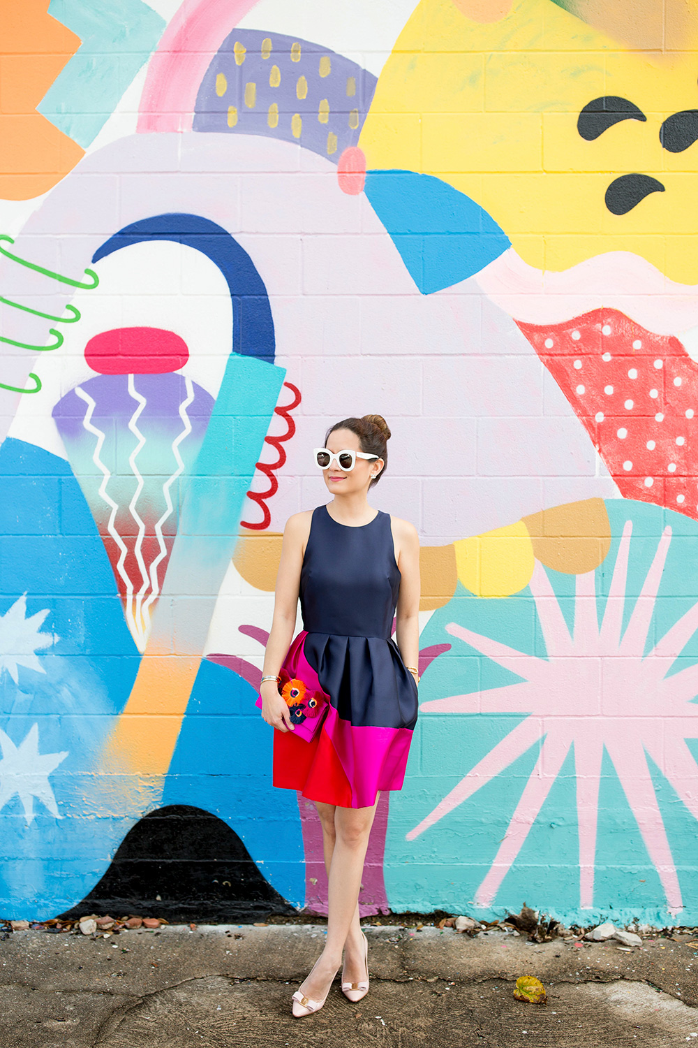 Navy Red Pink Color Block Dress