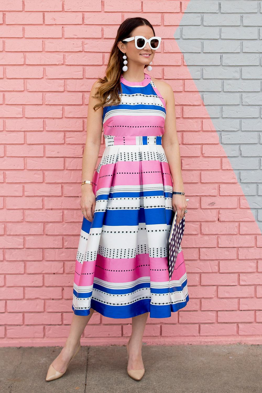 Pink Blue Stripe Flare Dress