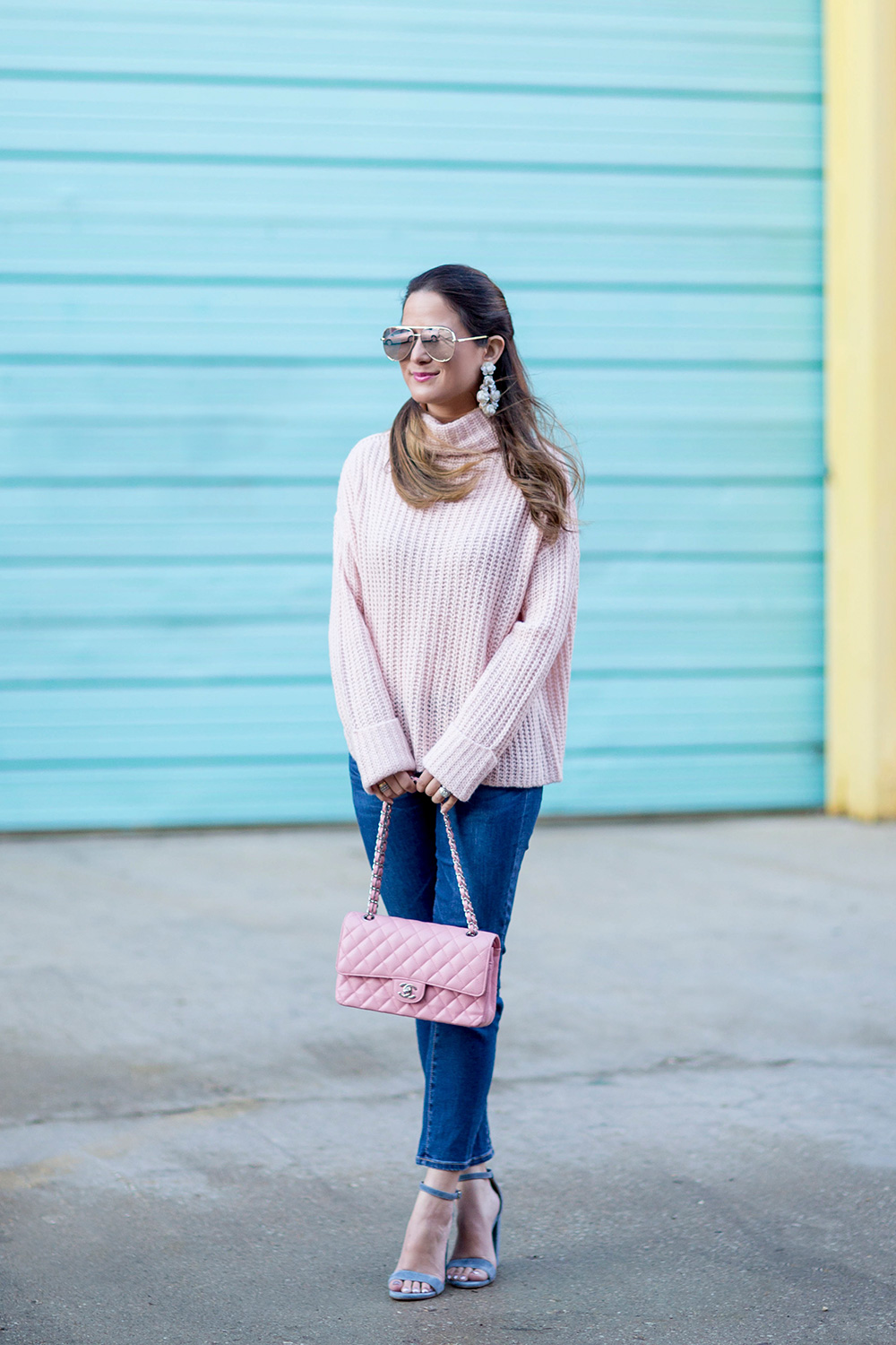 Pink Chunky Turtleneck Sweater