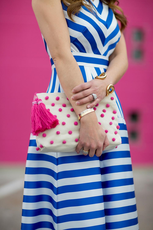 Pink Pom Pom Tassel Clutch
