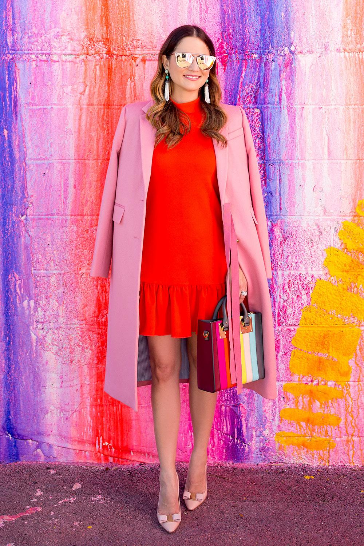 Poppy Red Ruffle Hem Dress