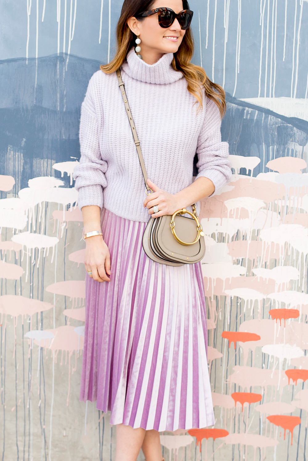 Purple Chunky Turtleneck Sweater