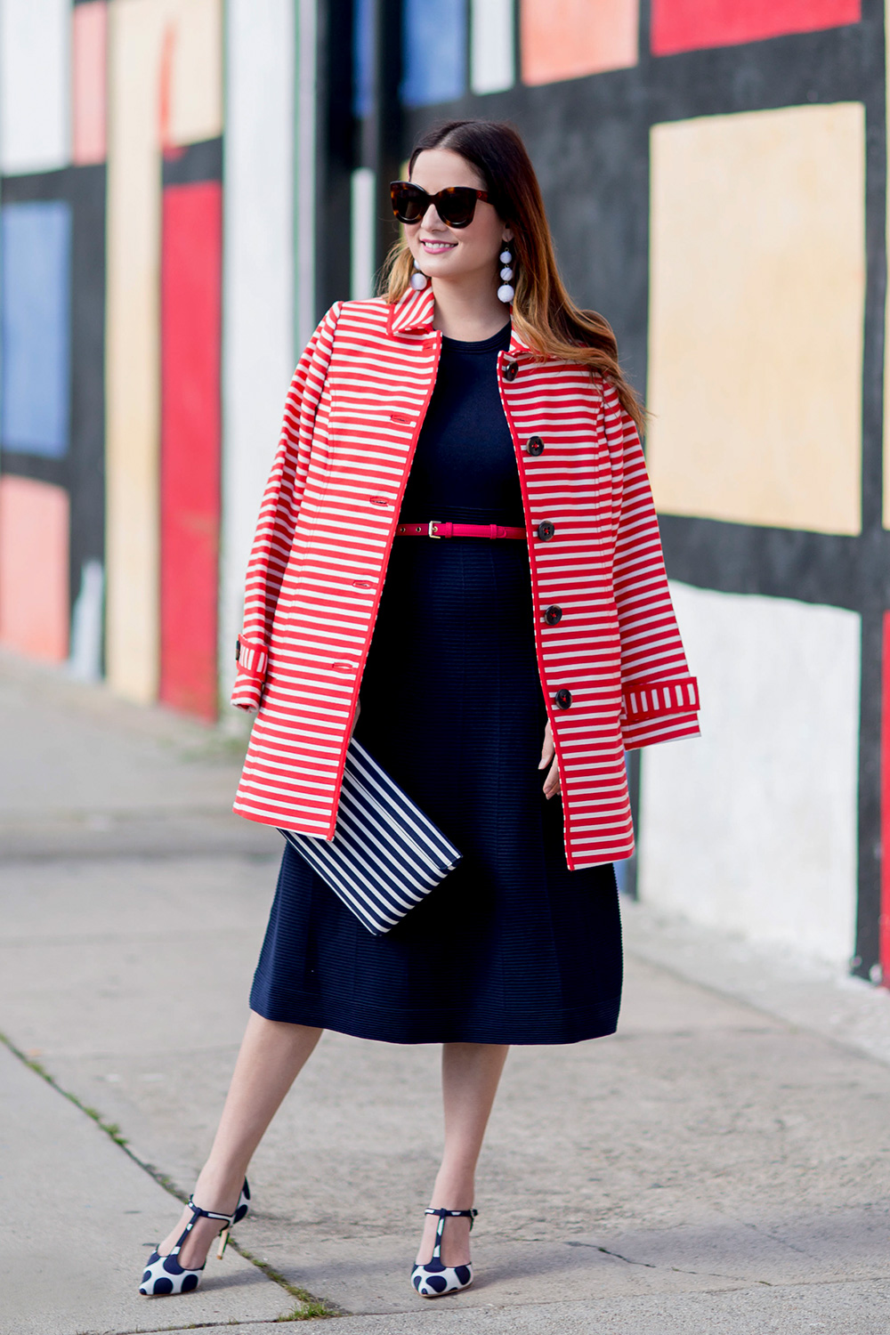 Red Stripe Trench Coat