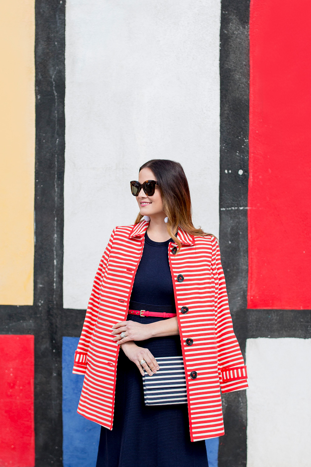 Red White Stripe Trench Coat