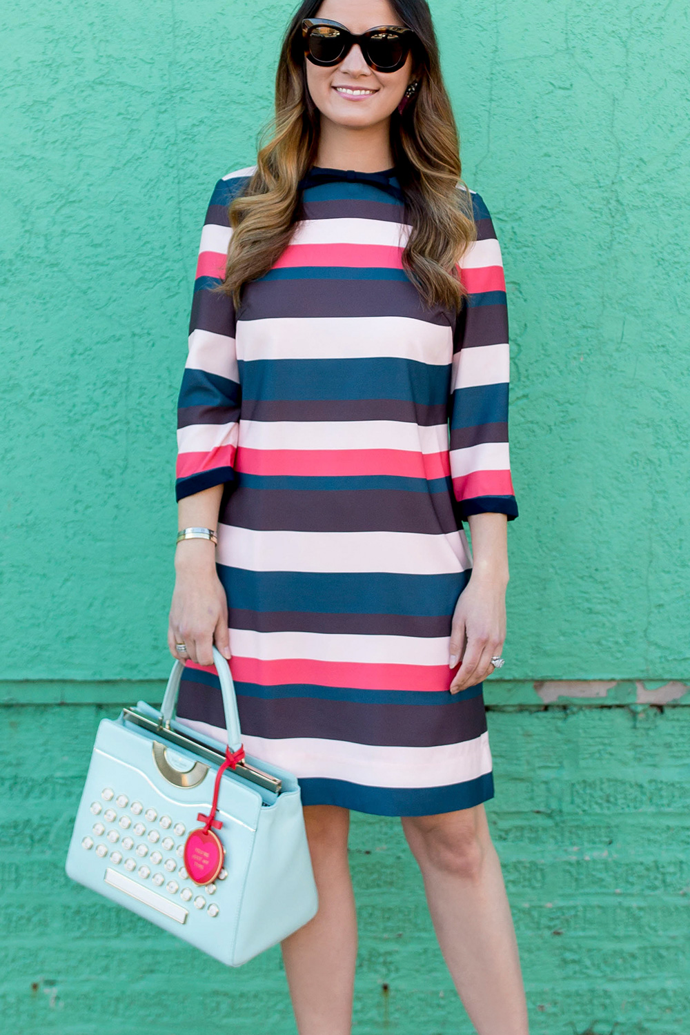 Ted Baker Pink Green Stripe Shift Dress