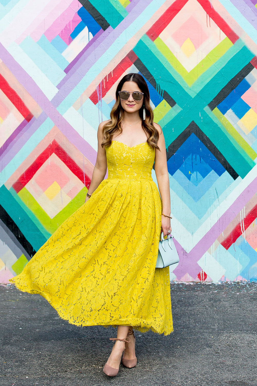 Yellow Strapless Midi Dress