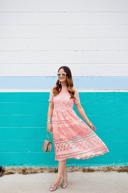 ASOS Pink Lace Midi Dress