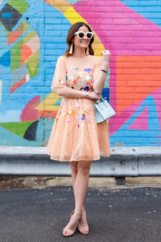 Mesh Sequin Mini Dress