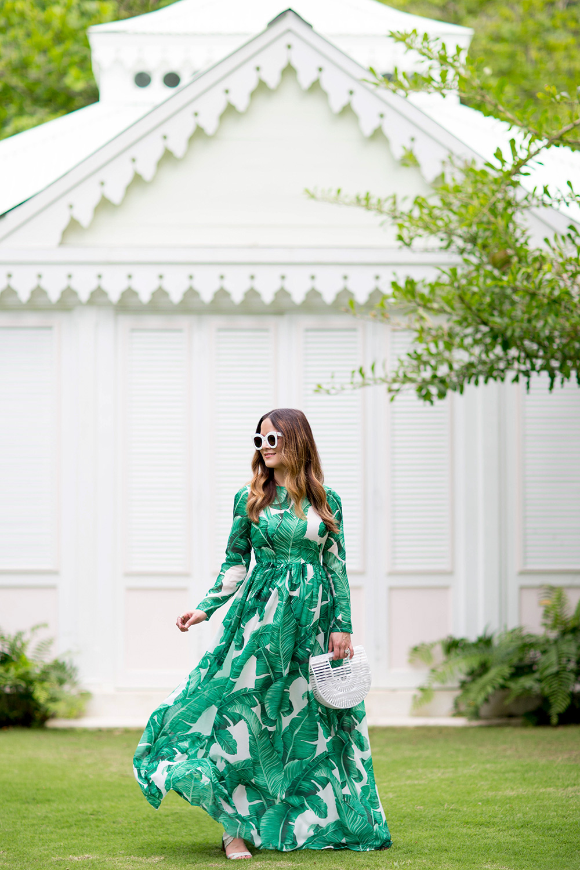 Banana Leaf Print Maxi Dress