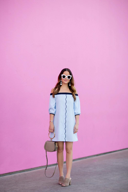 Blue Scallop Off Shoulder Dress