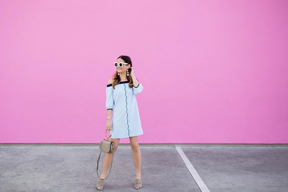 Blue Scallop Trim Dress