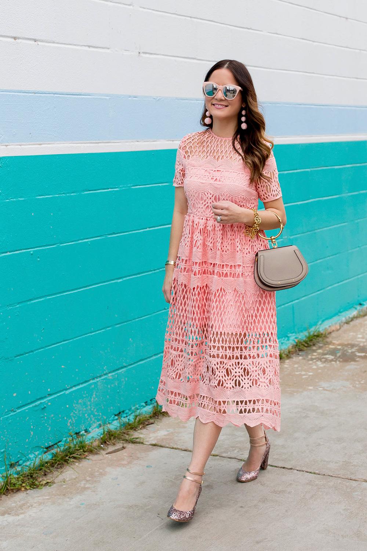 Boohoo Pink Lace Midi Dress