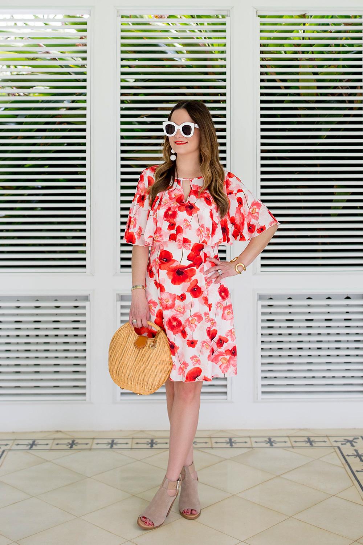Cece Floral Fit Flare Dress