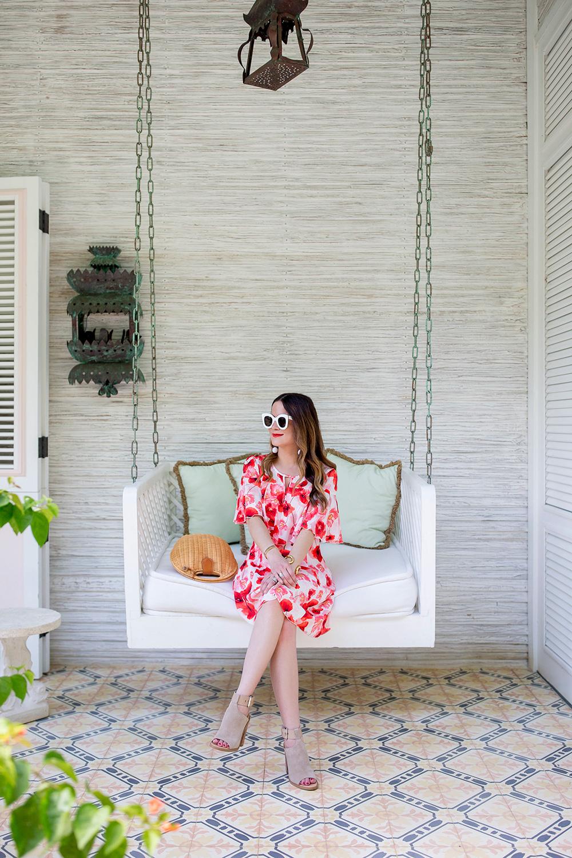Cece Red Floral Capelet Dress