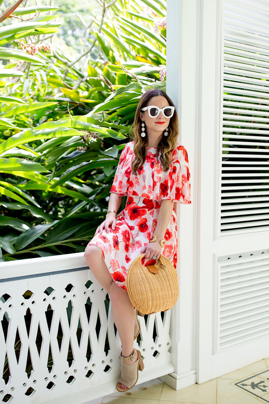 Cece Red Poppy Floral Dress