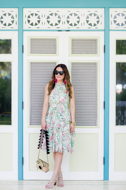Green Floral Chiffon Dress