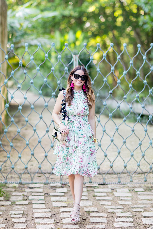Green Pink Floral Chiffon Dress