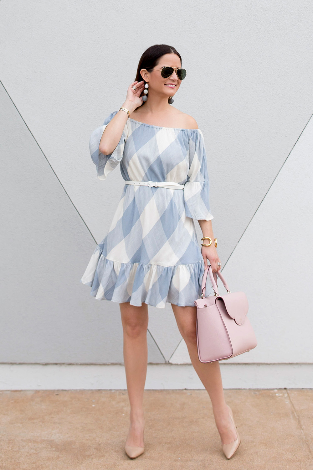 Grey Check Ruffle Off Shoulder Dress