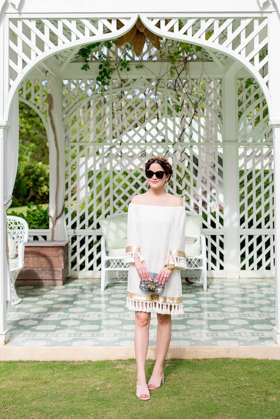 Ivory Tassel Dress Gold Trim