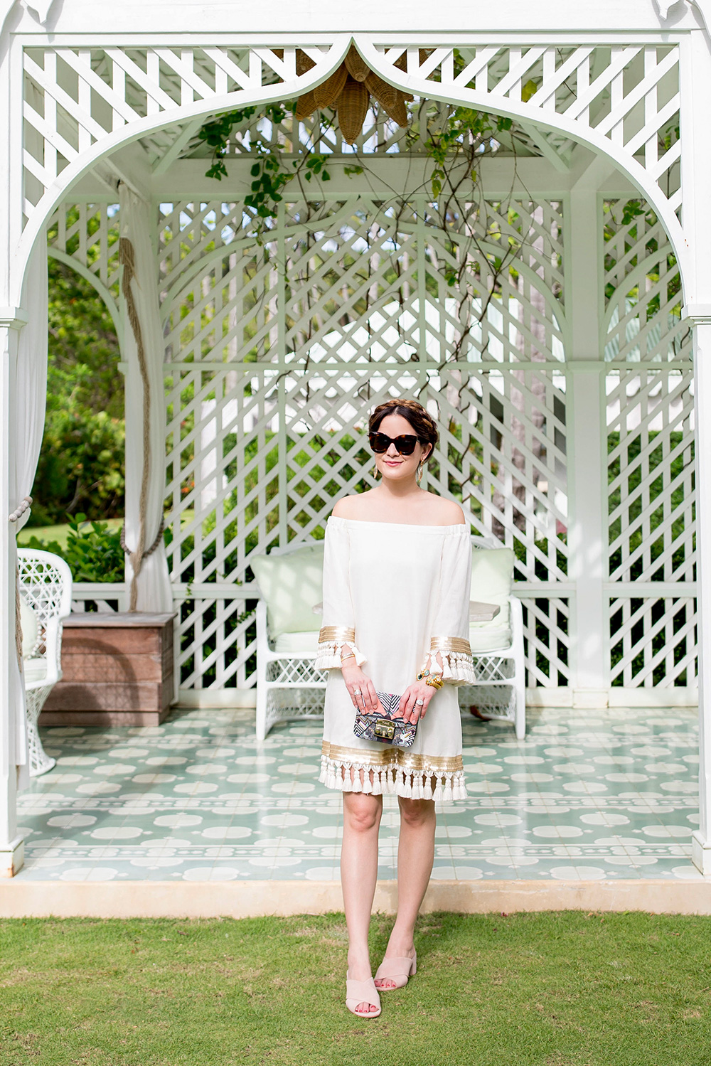 Ivory Tassel Dress Gold Trim