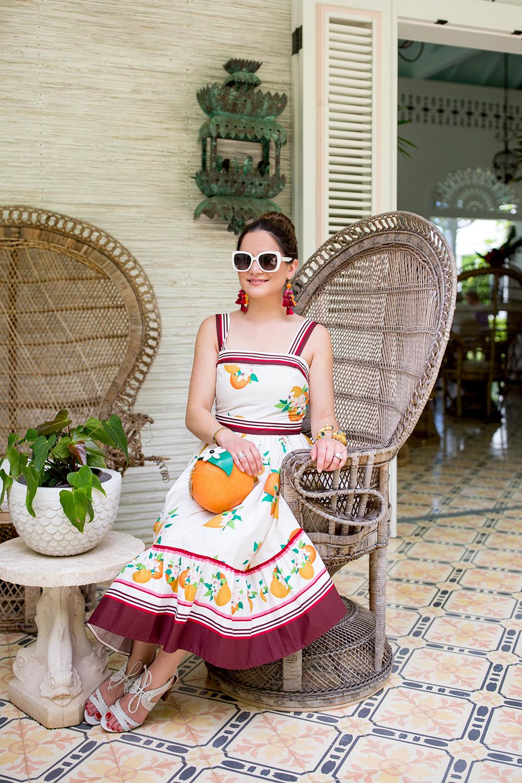 Kate Spade Orange Print Midi Dress