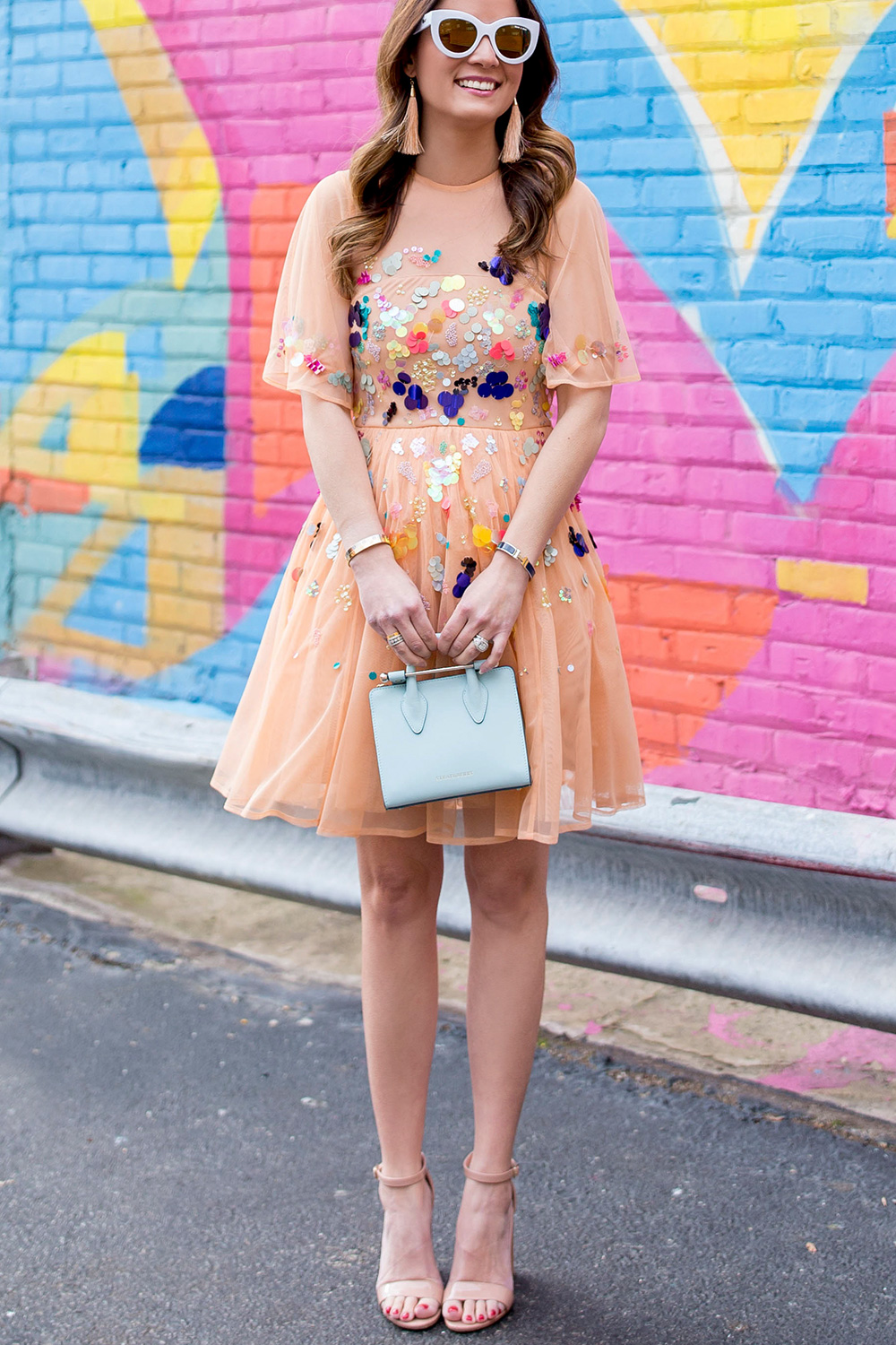 Multicolor Sequin Fit Flare Dress