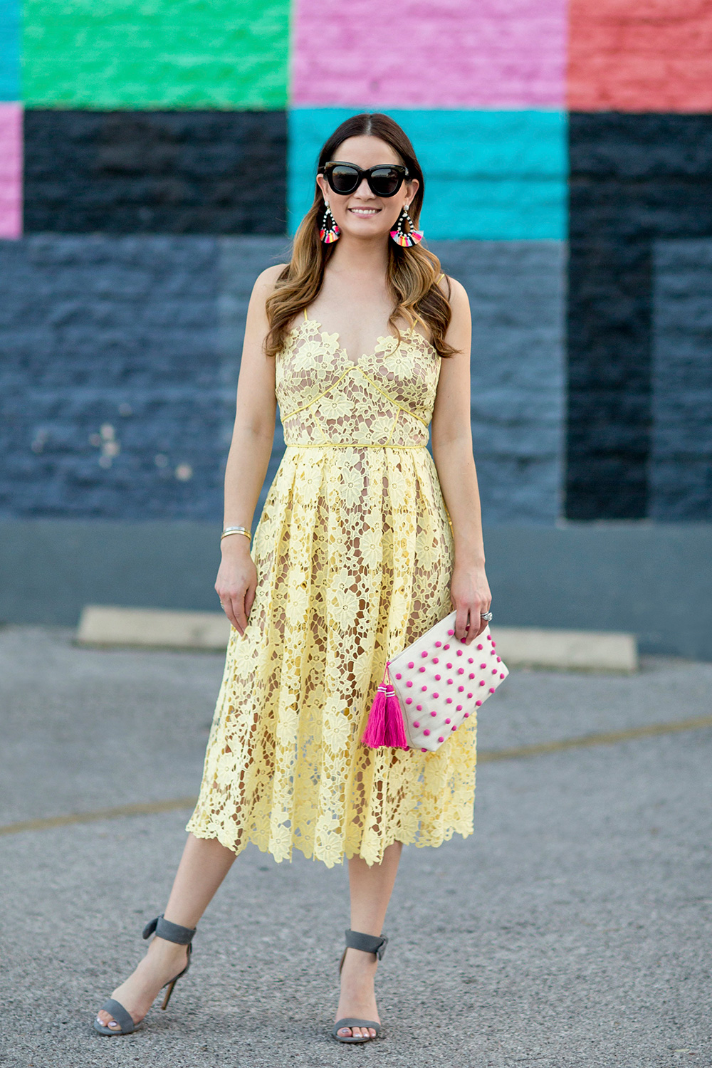 Nordstrom Yellow Lace Midi Dress