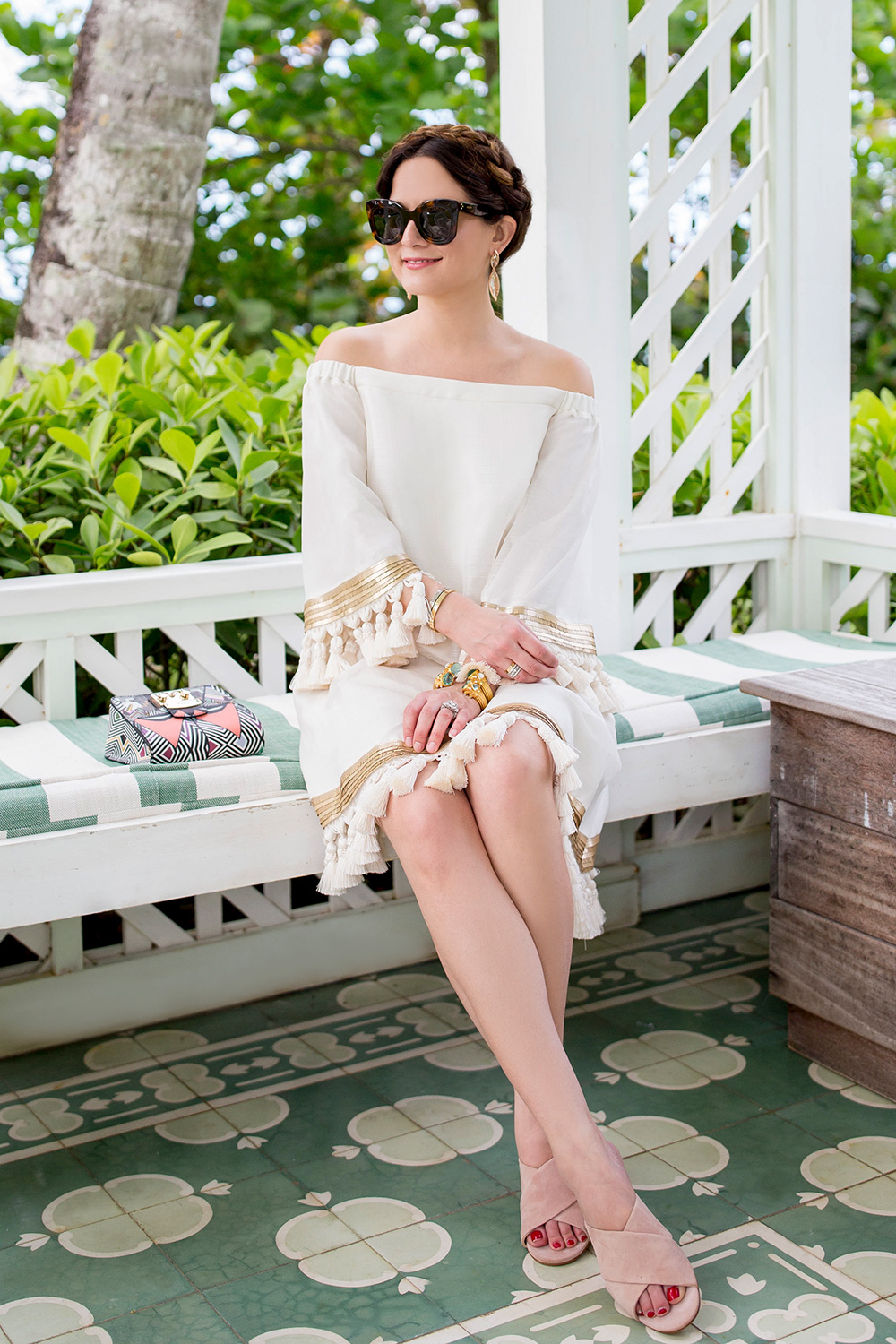 Off Shoulder Ivory Tassel Dress