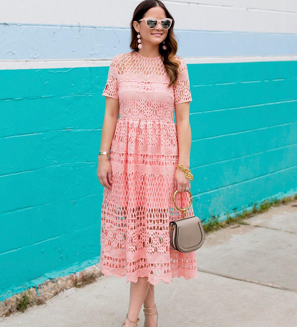 Pastel Lace Midi Dress