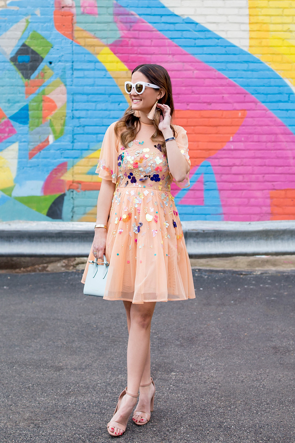 Peach Sequin Embellished Dress