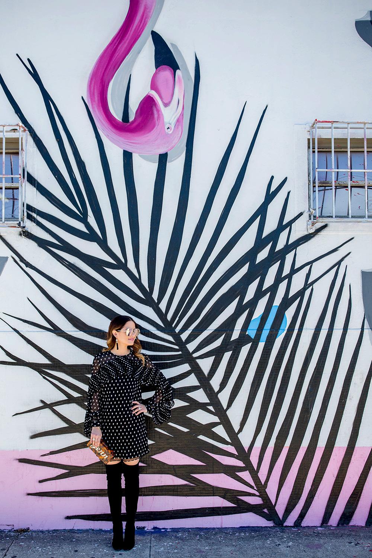 Pink Flamingo Mural Miami Wynwood