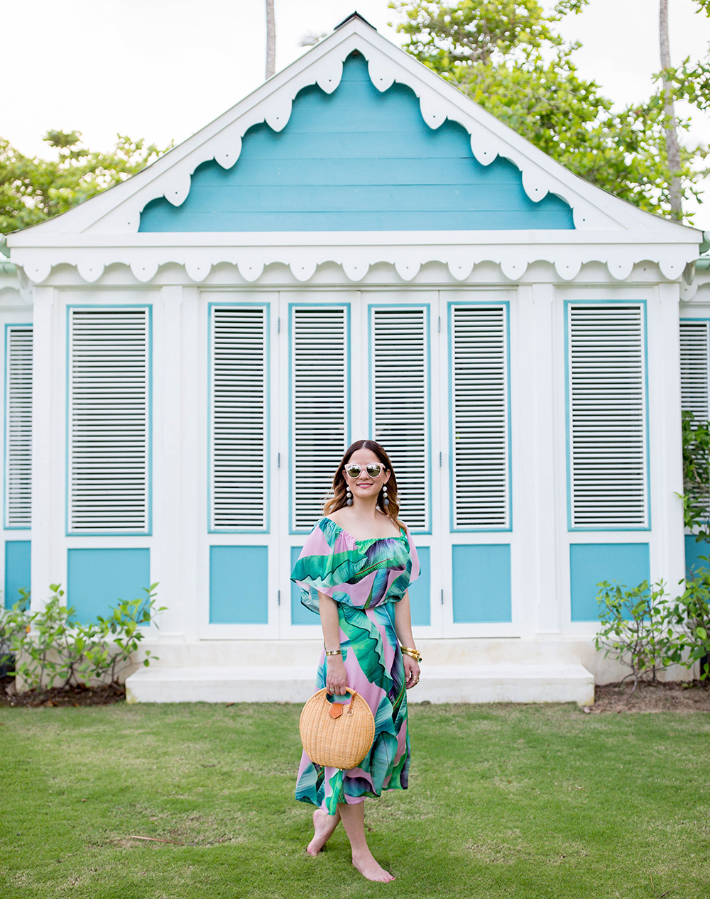Pink Green Palm Print Midi Dress