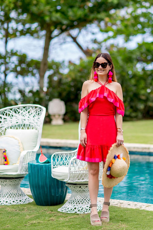 Red Pink Cold Shoulder Dress