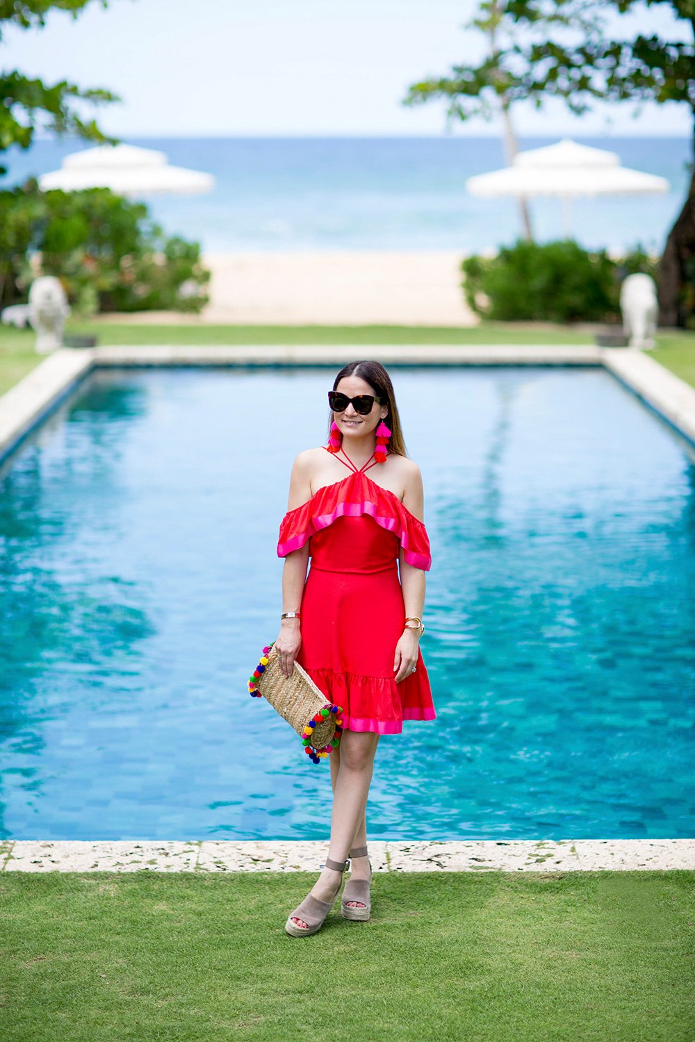 Red Pink Fit Flare Dress