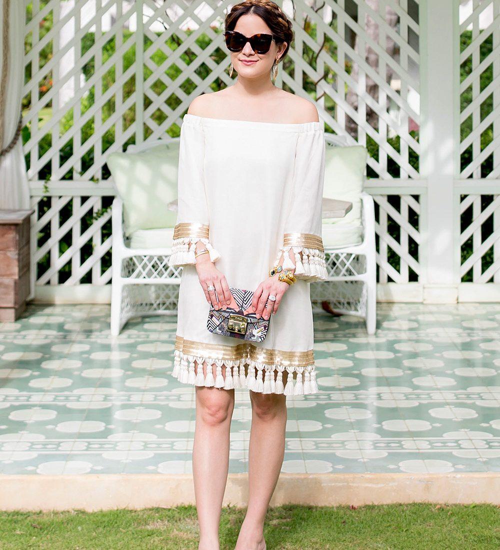 White Tassel Off Shoulder Dress