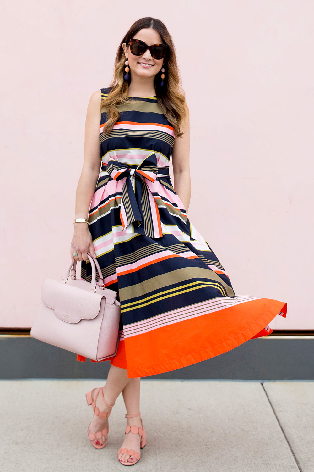 Multicolor Stripe Fit And Flare Midi Dress