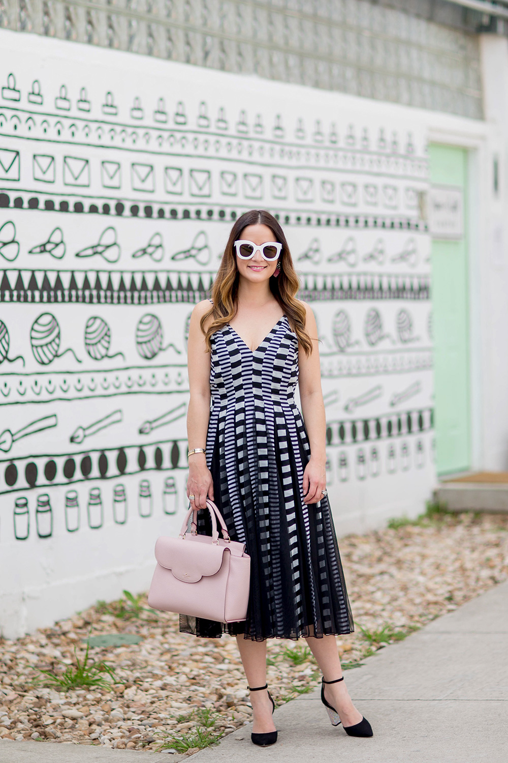 Black White Graphic Fit Flare Dress